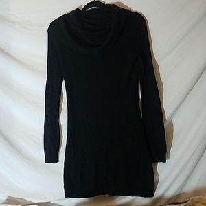 No Label - Black Cashmere Cowlneck Dress/Tunic